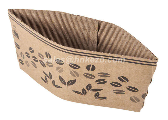 Disposable Reusable Coffee Cup Sleeves / Coffee Cup Cardboard Sleeve With Logo Printed