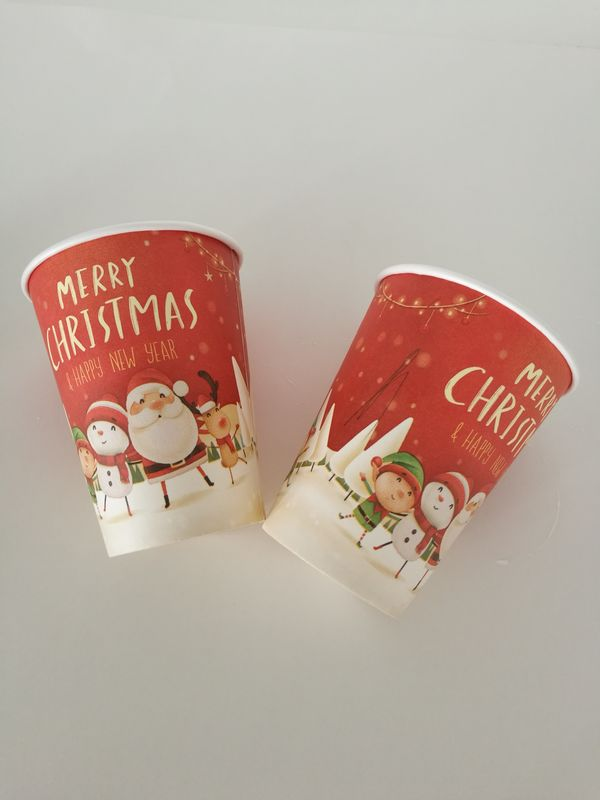 8oz,12oz,16oz Single wall paper cup for hot drinks with Christmas design